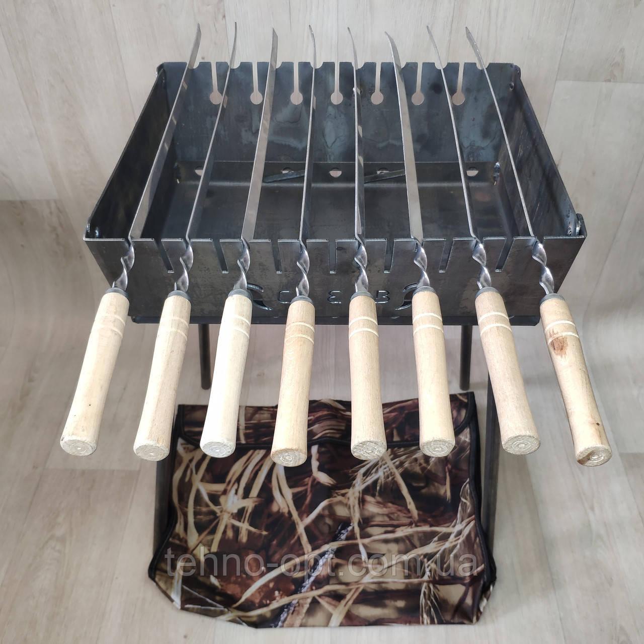 Мангал Огонёк раскладной на 8 шампуров 2 мм чемодан  с шампурами 8 шт и чехлом С,Е,В