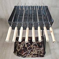 Мангал Огонёк раскладной на 8 шампуров 2мм чемодан с шампурами 8 шт и чехлом С,Е,В, фото 1