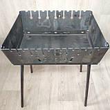 Мангал Огонёк раскладной на 8 шампуров 2 мм чемодан  с шампурами 8 шт и чехлом С,Е,В, фото 5
