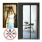 Антимоскитная Сетка для двери на магнитах Magic Mesh 100 х 210 см Черная, фото 5