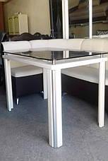 Стеклянный стол на кухню на деревянных ножках Гелиос Антоник, цвет на выбор, фото 3
