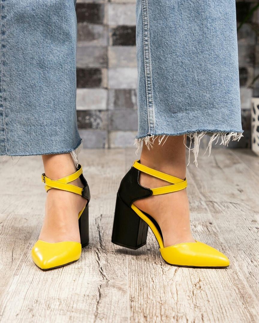 Туфли женские с перекрестными ремешками желтые