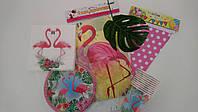 """Набор праздничной посуды и декора для оформления дня рождения """"Розовый фламинго"""""""