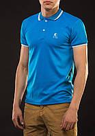 Мужская футболка поло YSTB с воротником голубая (мужские футболки, молодежные, стильные, поло), фото 1