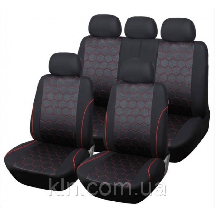 Універсальні автомобільні чохли для салону легкового авто AUTOYOUTH Barcelona Black & Red