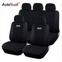 Универсальные автомобильные чехлы для салона легкового авто AUTOYOUTH  Wheel Black & Gray