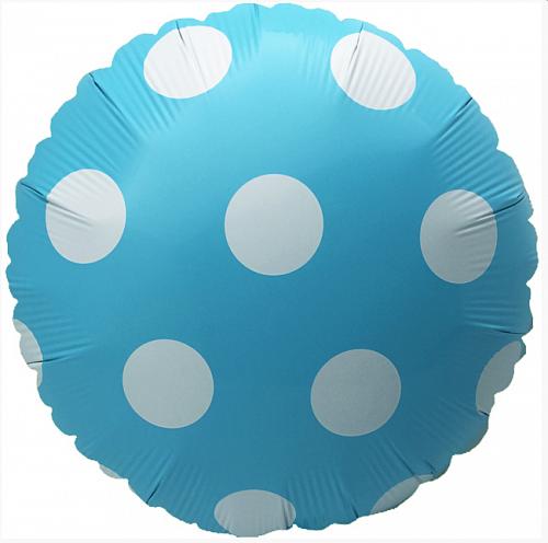 """Фольгированные шары с рисунком 18"""" Горох пастель голубой (Китай)"""