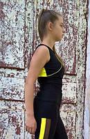Майка спортивная для фитнеса женская черная с жёлтыми кантами
