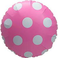 """Фольгированные шары с рисунком 18"""" Горох пастель розовый (Китай)"""