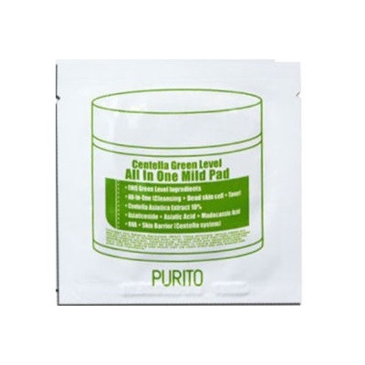 Очищающие пилинг-пэды с экстрактом центеллы PURITO Centella Green Level All In One Mild Pad, 1 шт