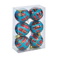 """Ёлочные игрушки """"Шар в полоску"""", d=6,5 см (6 шт), голубо-красные C30614"""