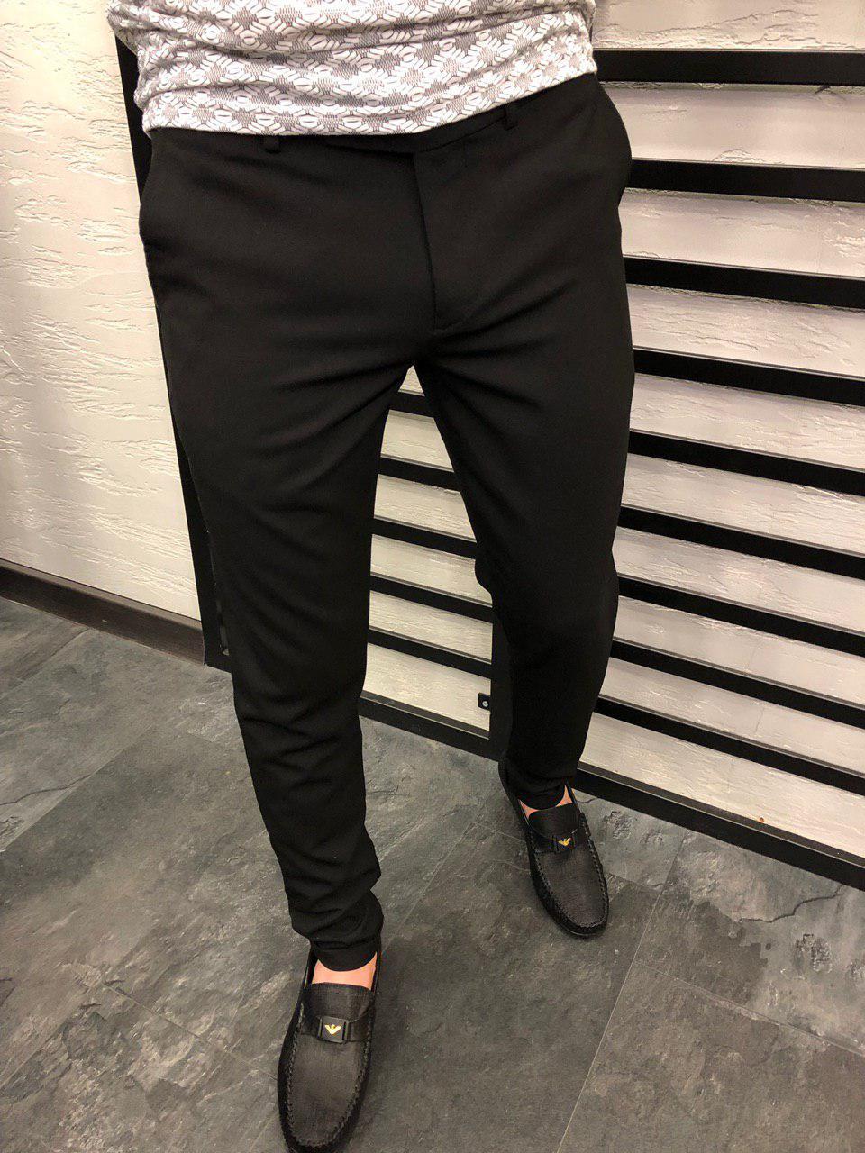 Мужские брюки черные В19В1009