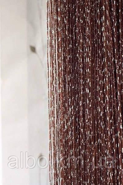 Нитяные шторы Кисея с люрексом 300x280 cm Коричневые (Ki-24)