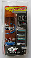 Набор картриджи Gillette Fusion ProGlide 4 шт + гель для бритья Gillette Fusion ProGlide Hydrating 200 мл