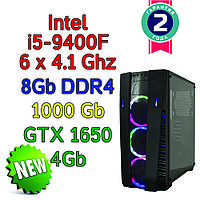 Игровой компьютер / ПК  ( intel i5-9400F (6 x 4.1GHz) \ B360 \ 8Gb DDR4 \ 1 Tb \ GTX 1650 4Gb \ 500W)