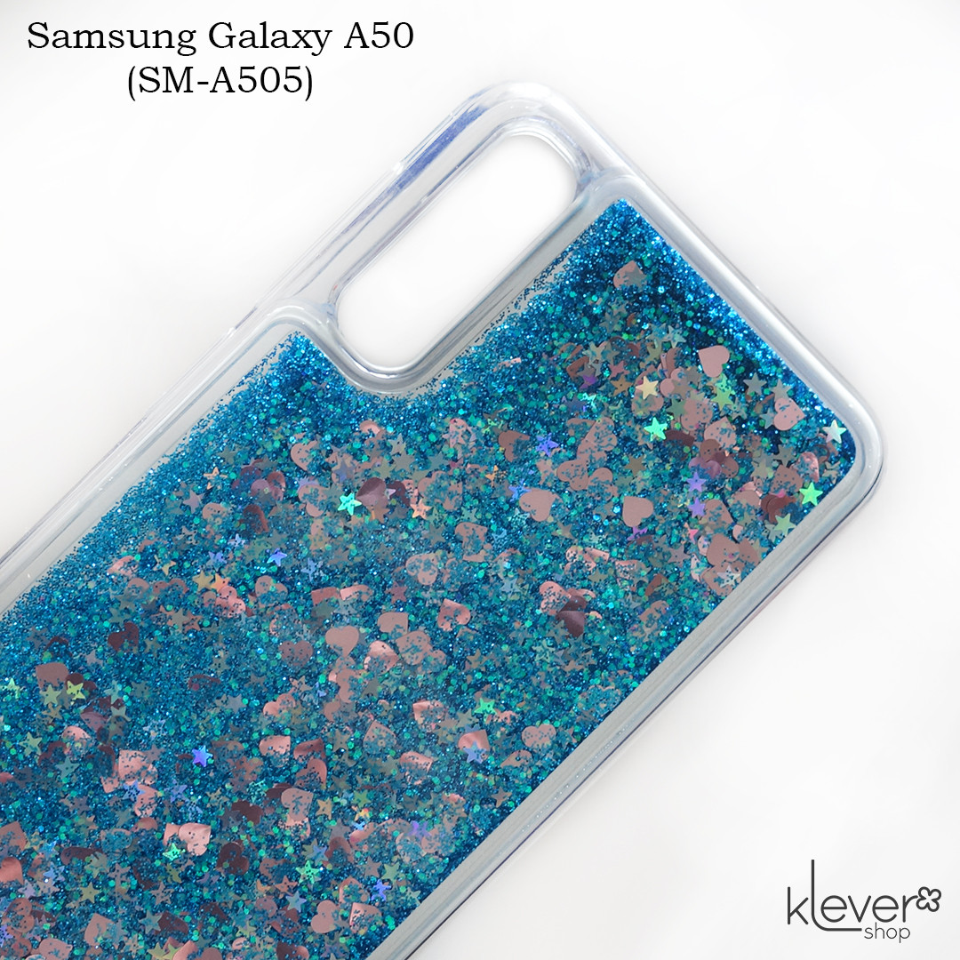 Чехол аквариум для Samsung Galaxy A50 (SM-A505) (сердечки и синие блестки)