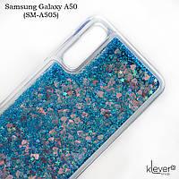 Чехол аквариум для Samsung Galaxy A50 (SM-A505) (сердечки и синие блестки), фото 1