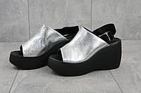 Летние женские босоножки Camalini из натуральной кожи на высокой платформе черные с серебром, ТОП-реплика, фото 1