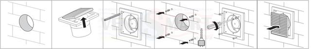 Порядок установки (монтажа) осевого вытяжного вентилятора с круглой передней панелью Вентс 100 ПФ непосредственно в вентиляционную шахту в ванной комнате, в санузле, на кухне или другом помещении. Вентилятор уже оснащён антимоскитной сеткой.