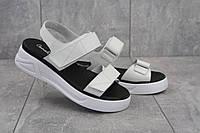 Повседневные женские босоножки  Camalini стильные удобные с открытым носком на липучке (белые), ТОП-реплика, фото 1