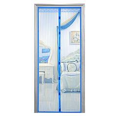 Москитная сетка на магнитах антимоскитная штора на дверь HLV Mesh Синяя