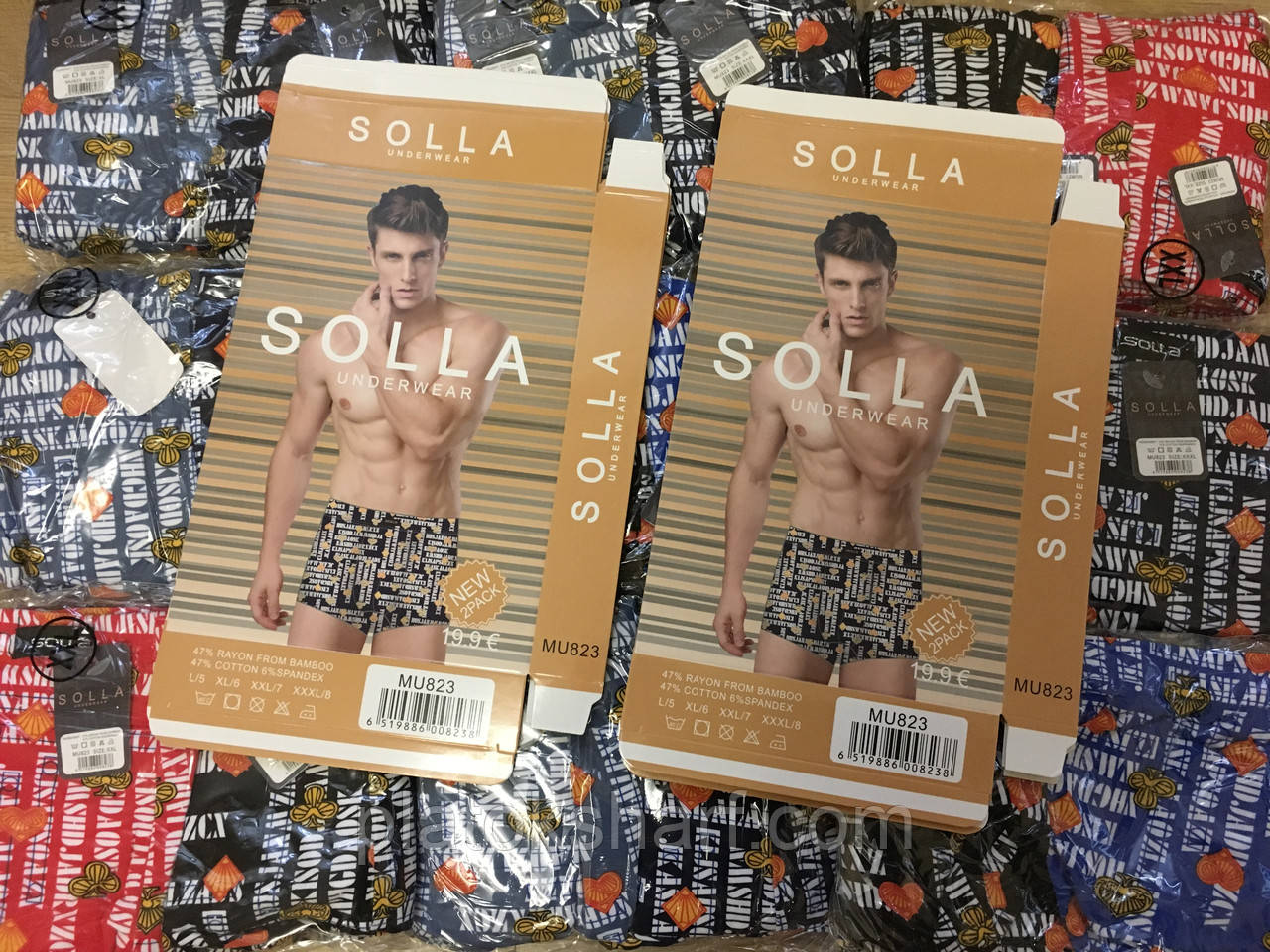 "Трусы мужские боксеры Solla 46-54 ""Орнамент G-fashion"" (823)"