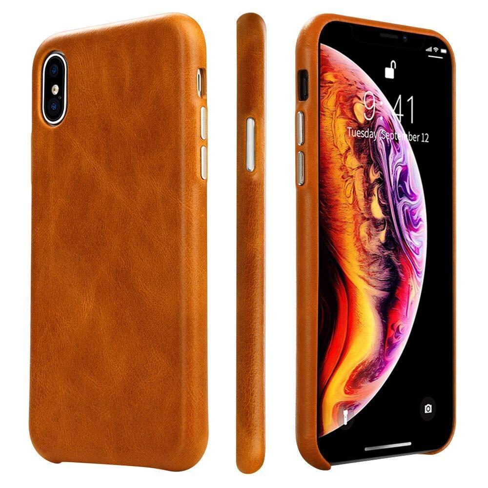 Защитный чехол для iPhone Xs Max 6.5 'натуральная кожа винтаж коричневый