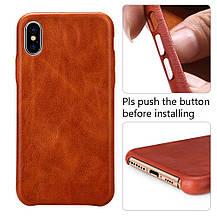 Защитный чехол для iPhone Xs Max 6.5 'натуральная кожа винтаж коричневый, фото 2