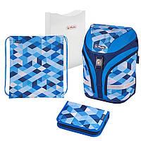 50020393 Ранец школьный укомплектованный Herlitz MOTION PLUS Cubes Blue Кубики голубые