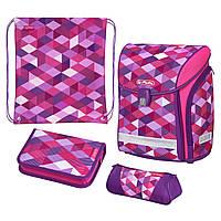 50022083 Ранец школьный укомплектованный Herlitz MIDI PLUS Cubes Pink Кубики розовые