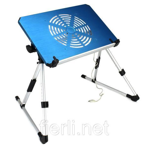 Столик ET-703 з вентилятором для ноутбука і нетбука планшета алюміній розкладний