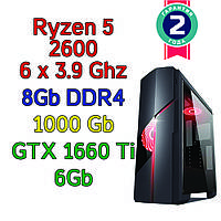 Игровой компьютер / ПК ( AMD Ryzen 5 2600  (6 x 3.9GHz) / B450 / 8Gb DDR4/ 1Tb / GTX 1660 Ti 6Gb / 500W), фото 1