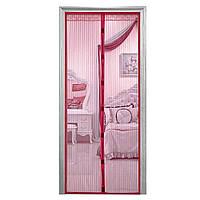 Москитная сетка на магнитах антимоскитная штора на дверь HLV Mesh Бордовая