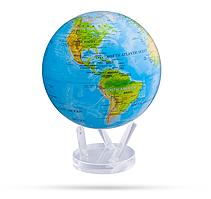 """Глобус самовращающийся левітує Mova Globe """"Фізична карта"""", блакитний, діаметр 216 мм (США)"""