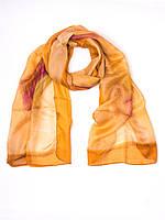 Шарф рыжий, натуральный шелк, производство Индии
