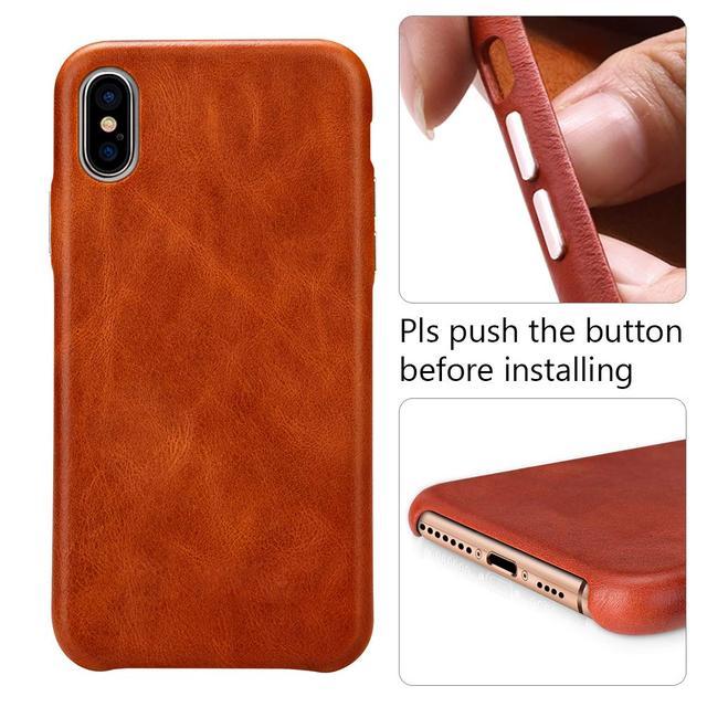 Защитный чехол для iPhone Xs Max 6.5 'натуральная кожа  коричневый