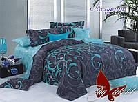 Комплект постельного белья двухспальный с компаньоном Лазурит ТМ TAG 2-спальный, постельное белье двухспальное