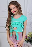 """Летний детский топик на завязках для девочки от 7 до 11 лет """"Помпоны"""",бирюзового цвета"""