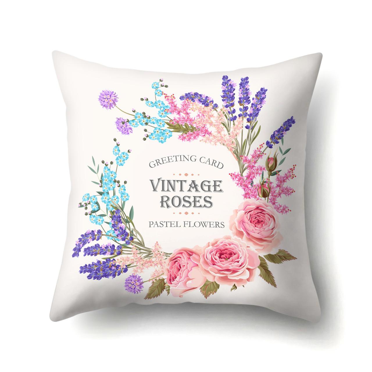 Подушка декоративная Пастельные цветы 45 х 45 см Berni