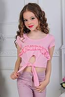 """Летний детский топик на завязках для девочки от 7 до 11 лет """"Помпоны"""",розового цвета"""
