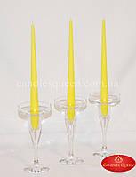 Свеча классическая конусная желтая 2шт 260х21 мм, фото 1