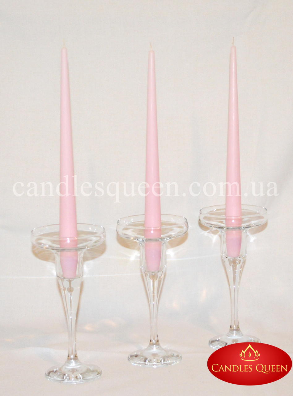Конусные свечи светло-розовые 2шт 260х21 мм