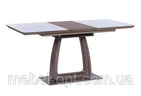 Обеденный стол Verter (Вертер) кэмел/белый со стеклом 120/160х80х76 см, стиль модерн