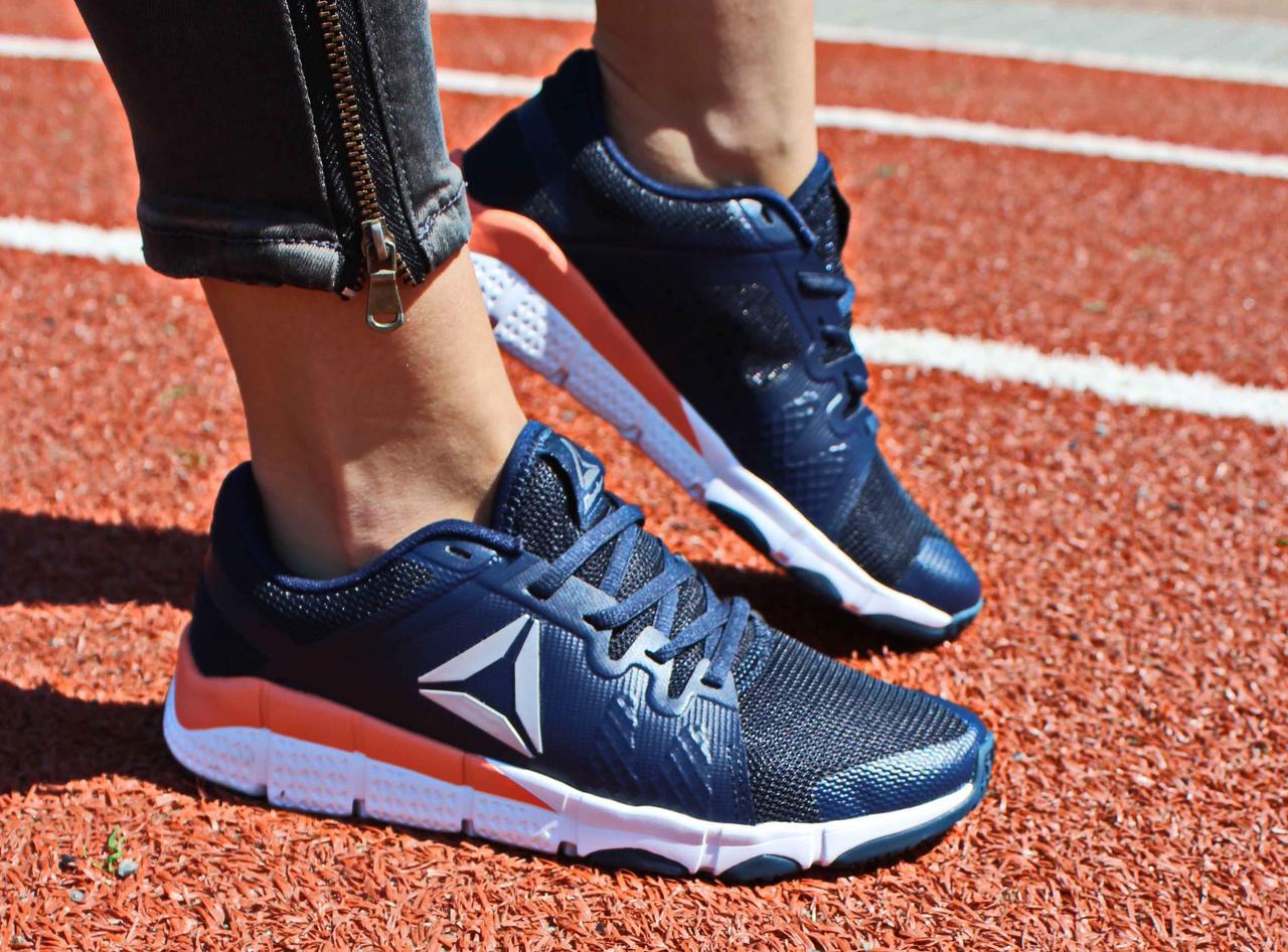 Фирменные женские кроссовки летние Reebok Trainflex синие BD4921