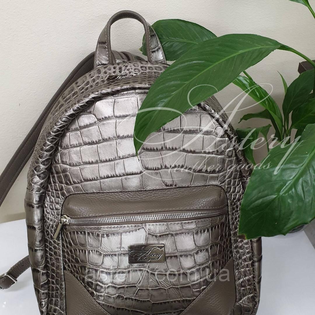 dab6b9a2e067 Женский кожаный рюкзак с натуральной кожи с тиснением крокодила ...