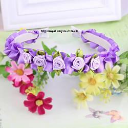 """Обруч """"Вінок"""" з квітками фіолетовий."""