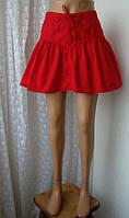 Юбка женская хлопок красная мини бренд H&M р.44, фото 1
