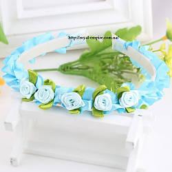 """Обруч """"Вінок"""" з квітками блакитного."""