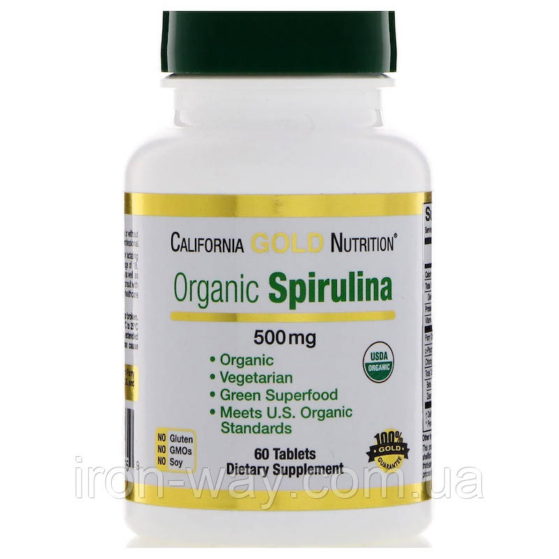 California Gold Nutrition Spirulina 500 mg 60 tabs