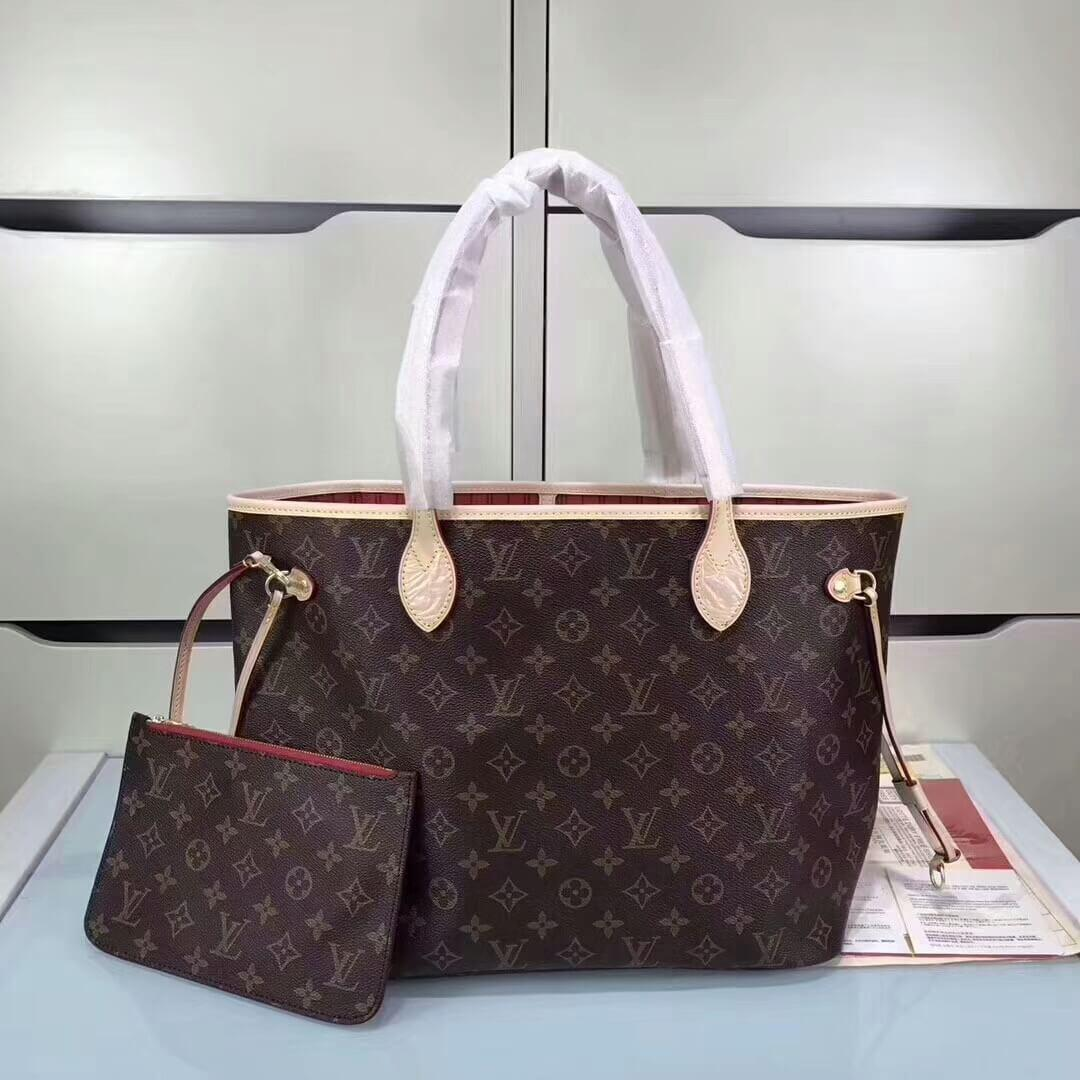 2b15db6ae048 Женская кожаная сумка Louis Vuitton Neverfull Lux MM - купить по ...